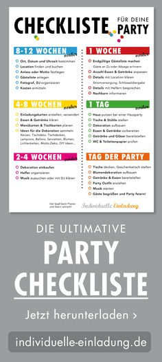 CHECKLIST FOR YOUR PARTY! - Are you celebrating your big birthday or a party soon? Then you will find the party checklist here - Funny Birthday Gifts, Birthday Gifts For Girlfriend, Birthday Diy, Birthday Ideas, 70s Party, Party Time, 18th Party Ideas, Teenager Birthday, Stampin Up
