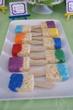 Rice krispie paintbrushes.........use a popscicle stick......then use white chocolate melted.....and use food coloring for the paint....