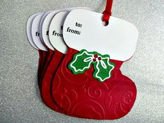 Christmas Gift Tags Stocking Tags Set of 6 by PaperTreasuresShoppe Christmas Tags Handmade, Handmade Gift Tags, Christmas Gift Wrapping, Diy Gift Tags, Christmas Gift Cards, Xmas Gifts, Xmas Cards, Holiday Gift Tags, Red Christmas