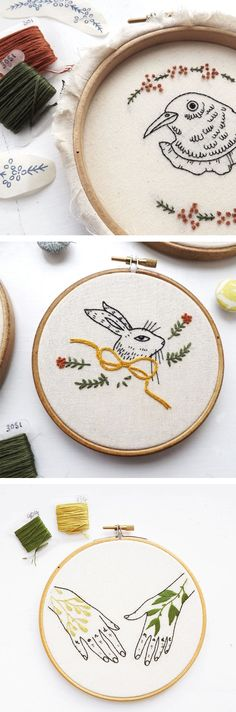 Kate Appleby crafts hoop art embroidery that's delightfully offbeat—including fowl-mouthed birds and Victorian shadow puppets.
