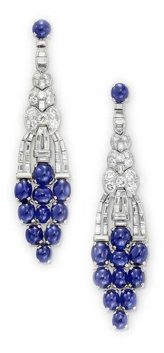 Art Deco Sapphire and Diamond Ear Pendants