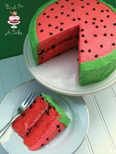 "Watermelon Layer Cake: ""This delicious (and adorable!) cake gets its flavoring from both watermelon puree and watermelon Jell-O, and the icing is watermelon flavored, too! The inside layers are studded with chocolate chip ""seeds.""~blogger"
