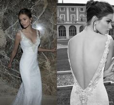 Wholesale Mermaid Dress - Buy Berta Winter 2014 Mermaid Lace Wedding Dresses Backless Applique V Neck Pearl Button Ruching Sweep Train Wedding Bridal Dresses Gowns, $143.52 | DHgate