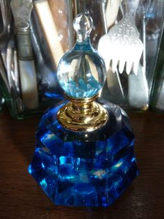 Vintage Style Stunning Heavy Clear Blue Crystal Cut Glass Perfume Bottle New | eBay
