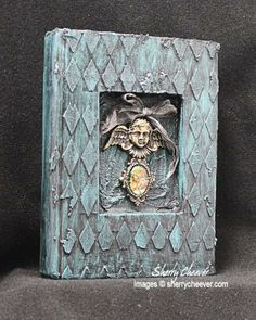 Altered Book for ePlay Challenge - alter a book, using Spellbinders, A Gilded Life, Embossing Paste, Gesso