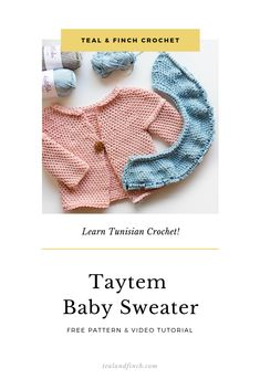 Learn a new skill and make a gift for someone you love with this Tunisian Crochet Baby Sweater Pattern. The free pattern somes in 4 baby sizes! Crochet Baby Cardigan Free Pattern, Tunisian Crochet Patterns, Crochet Baby Jacket, Crochet Baby Sweaters, Baby Sweater Patterns, Baby Patterns, Crocheting Patterns, Crochet Tops, Crochet Granny