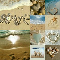 shell heart on sand Color Collage, Flower Collage, Collages, Photography Collage, Beautiful Collage, Beach House Decor, Colour Schemes, Beach Themes, Coastal Decor