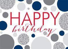 Gray Blue Dots Birthday - Birthday Cards from CardsDirect