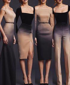 Ombré fashion ❤️ Would you choose 3 or 4 outfit? Elegant Dresses, Pretty Dresses, Beautiful Dresses, Dress Outfits, Fashion Dresses, Dress Up, Mein Style, Capsule Wardrobe, Dress Patterns