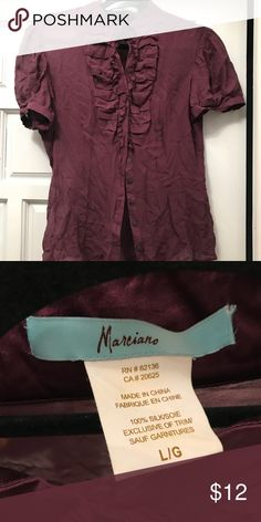 Marciano Victorian Ruffle Sheet blouse. Size large Marciano Victorian Ruffle Sheet blouse. Size large. Previously loved. Worn once or twice. Color is more of a wine/burgundy. On trend for the season Guess by Marciano Tops Blouses