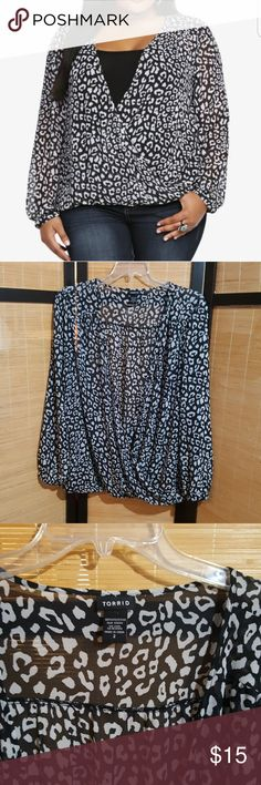 Cute sheer blouse Black/white wrap front sheer blouse,long cinched sleeve.No trades offers welcome torrid Tops Blouses
