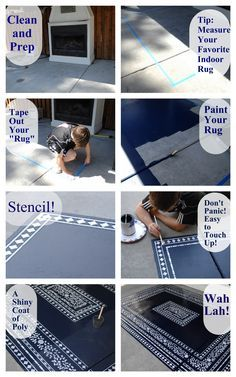 How to stencil an outdoor rug! cutting edge stencil YouAreTalkingTooMuch.com 8