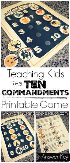 Helping your kiddos learn and remember the Ten Commandments is easy and fun with this printable memory game. Read on to learn how I helped our four year old grasp these big concepts. Sunday School Activities, Church Activities, Bible Activities, Sunday School Lessons, Sunday School Crafts, Preschool Bible Crafts, Preschool Printables, School Days, School Stuff