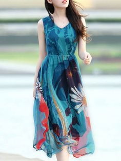 Ink Floral Printed Round Neck Maxi-dress