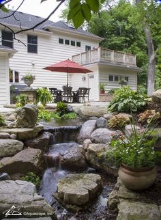 Dining Area with Backyard Waterfall