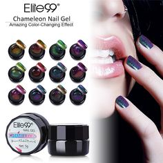 Elite99 All 12Pcs Chameleon Color Gel Polish LED UV Gel Nail Polish Soak off Colorful Lacquer DIY Nail Art Paint 5ml