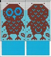 No instructions for mittens, just graphed owl chart to add to your own mitten pattern. Owl Knitting Pattern, Knitted Mittens Pattern, Knitting Charts, Knit Mittens, Knitted Gloves, Knitting Stitches, Knitting Designs, Knitting Yarn, Baby Knitting