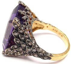 Side view: Cathy Waterman gold, diamond and amethyst winged ring. Via Diamonds in the Library / my lord, sparkly...