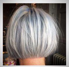 Blue and grey bob #bob #shorthair #bluehair #greyhair #silverhair