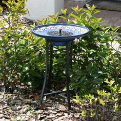 Smart Solar Mosaic Ceramic Solar Outdoor Bird Bath Fountain with Metal Stand Item # HN-ST309 Sale Price $189.98 List  $324.94 save 42% Ceramic bowl with hand-laid decorative tiles  Steel base has black powder coat finish Integral pump system works on solar energy   Requires direct sunlight to work  Dimensions: 20.75 diam. x 28.75H inches