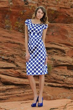 Cute blue and white polka dotted dress