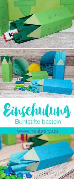 MrsBerry.de DIY | Buntstifte als Verpackung zur Einschulung (Schulanfang) basteln.
