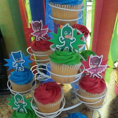 Sophia -- added a photo of their purchase Pjmask Party, Mario Birthday Party, Kids Birthday Themes, 4th Birthday Parties, 3rd Birthday, Party Bags, Pj Masks Cupcake Toppers, Pj Mask Cupcakes, Festa Pj Masks