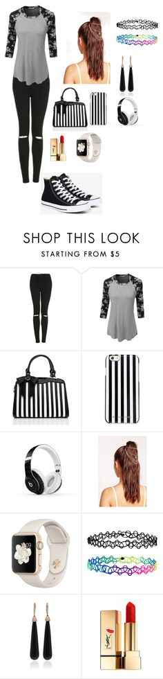 """Shopping outfit"" by friendlyy ❤ liked on Polyvore featuring Topshop, LE3NO, MICHAEL Michael Kors, Beats by Dr. Dre, Missguided, Accessorize, SUSAN FOSTER, Yves Saint Laurent and Converse"