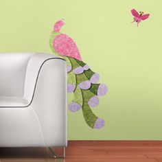 Peacock and Butterfly Wall Sticker Kit for Kids Room Mural