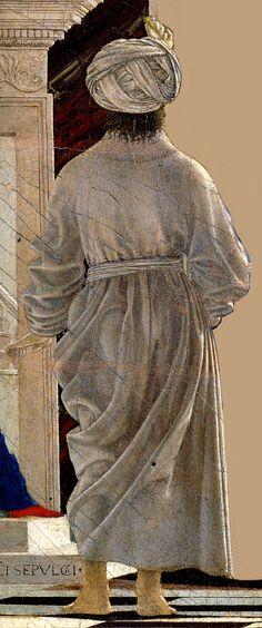 L'uomo col turbante visto di spalle, ordina la Flagellazione di Cristo. Questo personaggio rappresenta sia Giuda Iscariota che Sigismondo Pandolfo Malatesta, nato nel 17 (1417). Nel copricapo è rappresentato un elefante, figura fondamentale nell'araldica dei Malatesta.