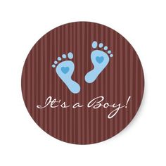 Stickers: Baby boy blue footprints - It's a Boy!