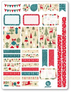 Vintage Christmas Decorating Kit / Weekly Spread Planner Stickers for Erin Condren Planner, Filofax, Plum Paper