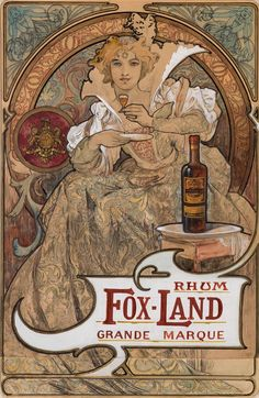 Rhum Fox-Land, Grande Marque, by Alphonse Mucha Mucha Art Nouveau, Alphonse Mucha Art, Art Nouveau Poster, Pub Vintage, Vintage Art, Art Deco, Illustrator, Illustration Art Nouveau, Jugendstil Design