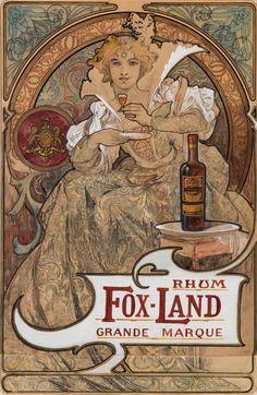 songesoleil: RHUM FOX-TIERRA.  Grande Marque.  Maquette.1897 original.  Acuarela, tinta y lápiz en el papel.  54,2 x 35,6 cm.  Arte de Alfons Mucha. (1860 a 1939).