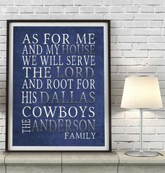 "Dallas Cowboys football inspired Personalized Customized Art Print- ""As for Me"" Parody- Unframed Print"