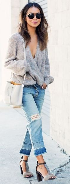 grey cozy shirt + blue denim jeans casual outfit