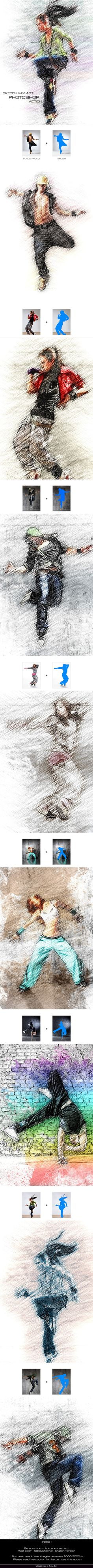 Sketch Mix Art - Photoshop Action #photoeffect Download: http://graphicriver.net/item/sketch-mix-art-photoshop-action/12066884?ref=ksioks