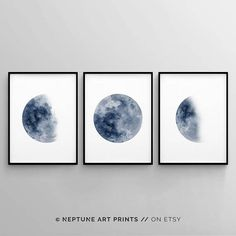 Printable art is an easy and affordable way to personalize your home or office. You can print from home, your local print shop, or upload the files to an online printing service and have your prints delivered to your door! **THIS PURCHASE INCLUDES All THREE PRINTABLES** Moon Phase