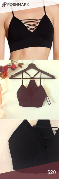 {Free Press: Nordstrom Rack} Criss Cross Bralette NWT, perfect condition! Ribbed, Black Criss Cross Bralette. Stretchy material. Intimates & Sleepwear Bras