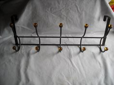 Over the Door Metal Coat Hanger with 10 Hooks Black with Gold Tone Plastic