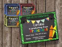 Invite friends and family to preschool graduation with these adorable chalkboard invitations!You can edit these announcements yourself! It is super easy to do. You can add your information, save and print as many as you need.File comes in a high resolution, editable PDF.