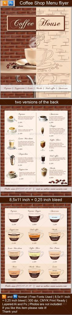 Coffee Shop Menu Flyer #GraphicRiver Professional coffee shop menu flyer. Ai and Ps format | Free Fonts Used | 8,5×11 inch + 0,25 inch bleed | 300 dpi, CMYK Print Ready | Layered Ai and Ps | Photos are not i