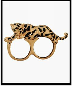 Fashion Gold Plated Leopard Big Exaggerated Women Two Fingers Rings  Celebrity Brand European Style Punk  Quality Lot Wholesale $2,92