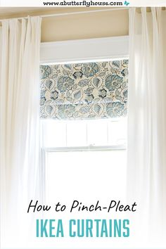 Learn how to pinch-pleat Ikea Curtains. Super easy and budget-friendly way to upgrade your ikea curtains to the next level. Easy DIY window treatment! #diy #diydecor Diy Window Shades, Diy Roman Shades, Furniture Projects, Home Projects, Garden Projects, Sewing Projects, Diy Projects To Improve Your Home, Decorating Your Home, Diy Home Decor