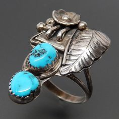 NATIVE AMERICAN NAVAJO STERLING SILVER TURQUOISE FLORAL ELONGATED RING - SIZE 7.75 – Gold Stream Boutique