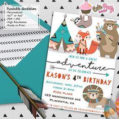 Teepee Birthday Party invitations DIY Tribal by CutePartyDash