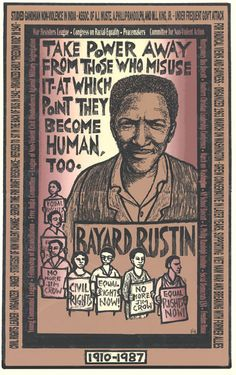 This Ricardo Levins-Morales poster introduces students to Bayard Rustin, civil rights leader and organizer.