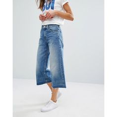 Levi's Wide Leg Denim Culottes (6,780 PHP) ❤ liked on Polyvore featuring pants, capris, blue, zipper pants, wide leg denim trousers, denim pants, denim crop pants and wide leg cropped pants