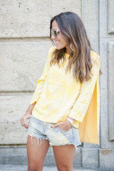 mypeeptoes in lazy yellow yellow blouse, london brand, paula ordovas