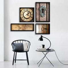 Composição de Quadros/posters para sala e Quarto no estilo Retrô - 04 itens